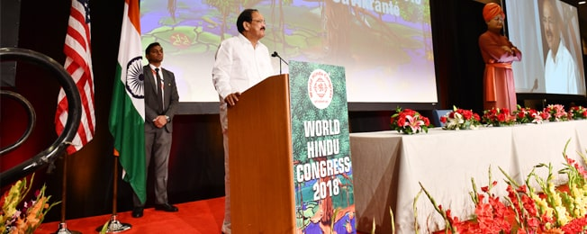 Vice President delivers his address at the 2nd World Hindu Congress in Chicago
