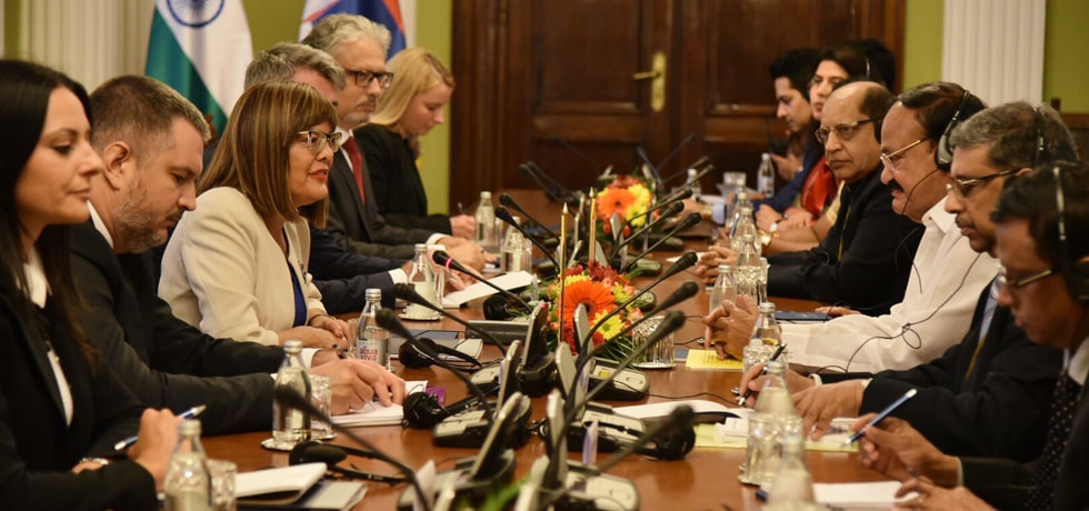Vice President leads Delegation level talks with Maja Gojkovic, Speaker of the National Assembly of Serbia