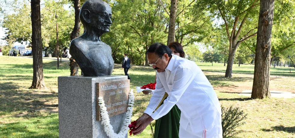 Vice President pays tribute at Mahatma Gandhi Bust in Belgrade during his visit to Serbia