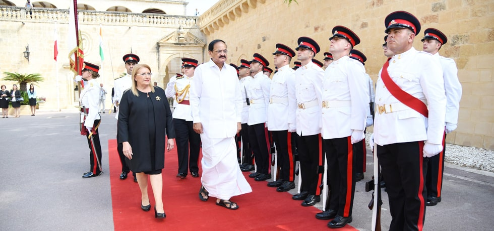 Vice President inspects Guard of Honour on his visit to Malta