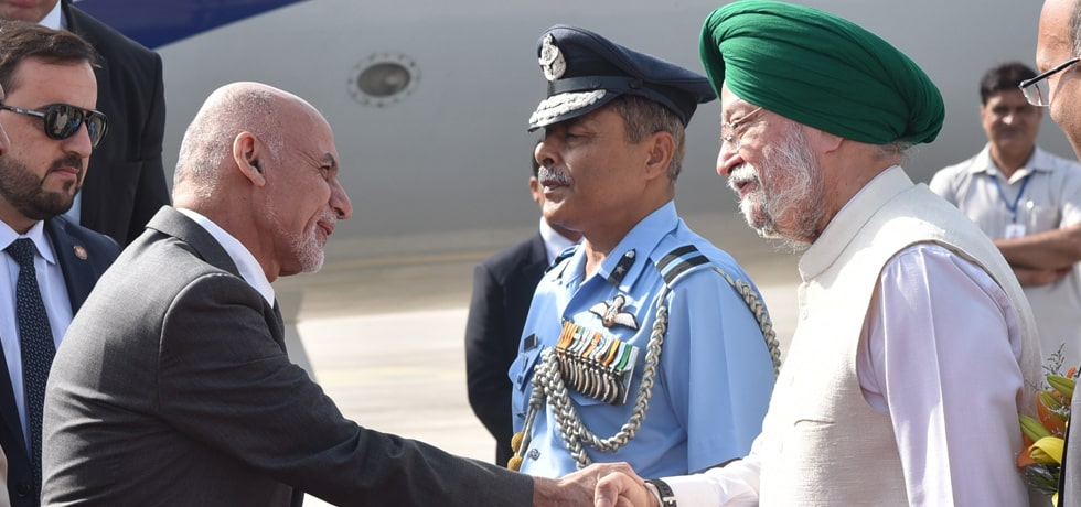 Dr. Mohammad Ashraf Ghani, President of the Islamic Republic of Afghanistan arrives in New Delhi