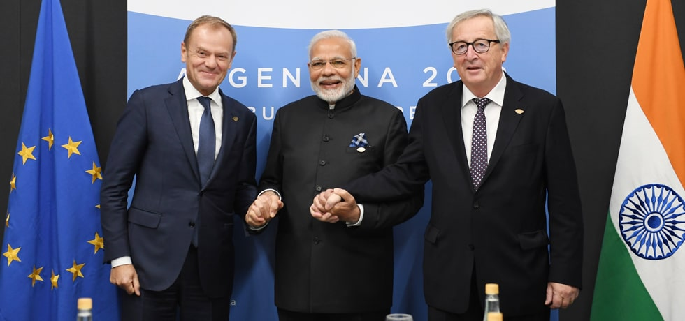 Prime Minister meets Donald Tusk, President of European Council and Jean-Claude Juncker, President of European Commission at the G-20 Summit in Buenos Aires