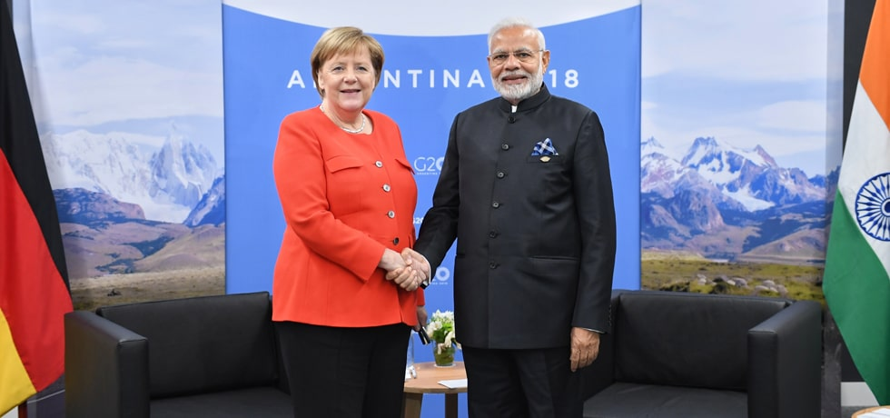 Prime Minister meets Angela Merkel, Chancellor of Germany at the sidelines of the G-20 Summit in Buenos Aires