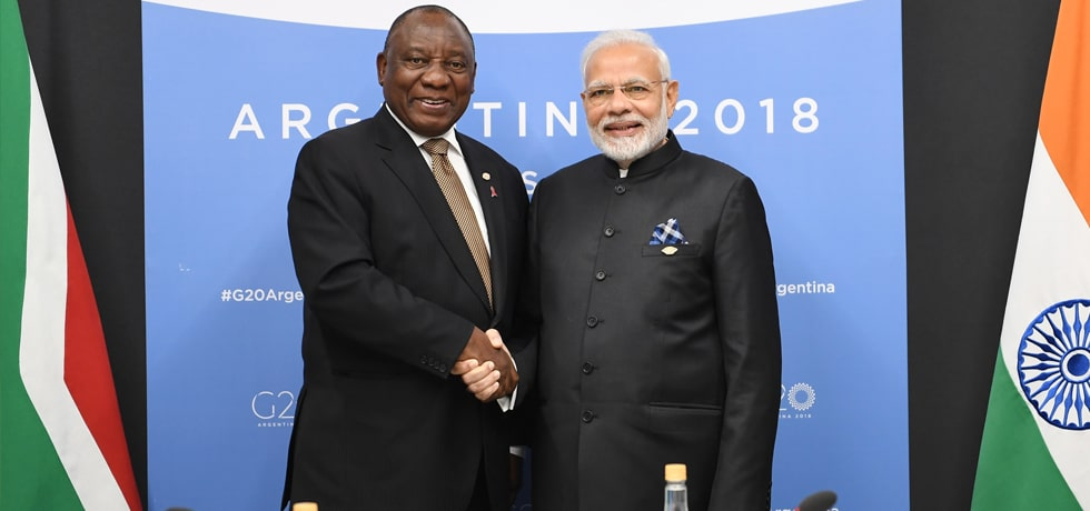 Prime Minister meets Cyril Ramaphosa, President of South Africa at the G-20 Summit in Buenos Aires