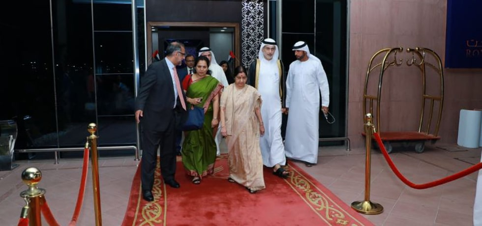 External Affairs Minister arrives in Abu Dhabi on her 2-day visit to United Arab Emirates