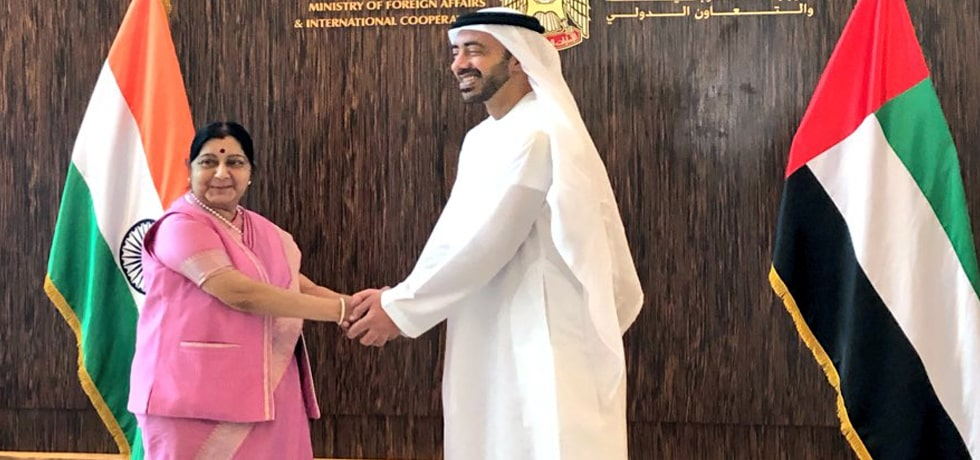 External Affairs Minister meets Sheikh Abdullah bin Zayed Al Nahyan, Foreign Minister of UAE at India-UAE Joint Commission Meeting in Abu Dhabi