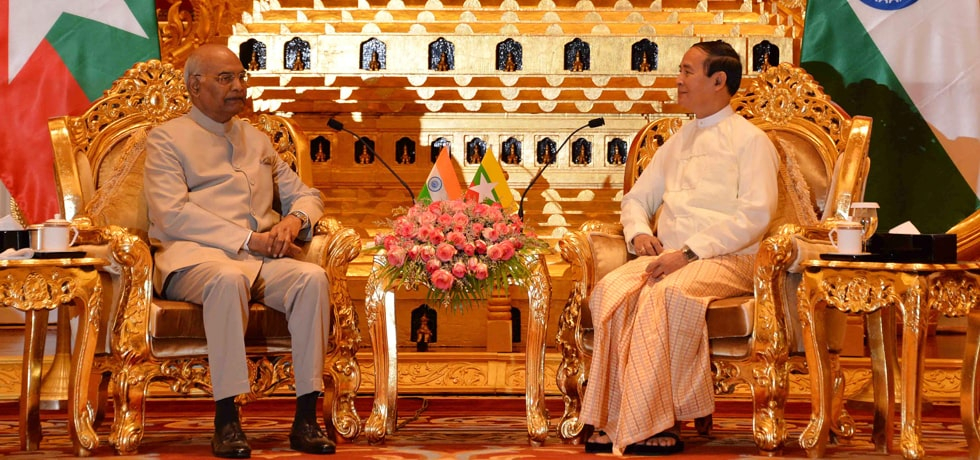 President meets U Win Myint, President of Myanmar at Presidential Palace in Nay Pyi Taw