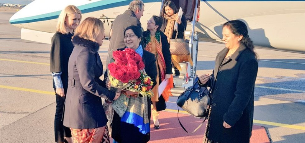 External Affairs Minister arrives in Sofia during her four day visit to Bulgaria, Morocco and Spain