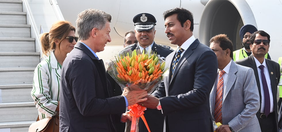 Mauricio Macri, President of the Argentine Republic arrives in New Delhi on 3-day State visit to India