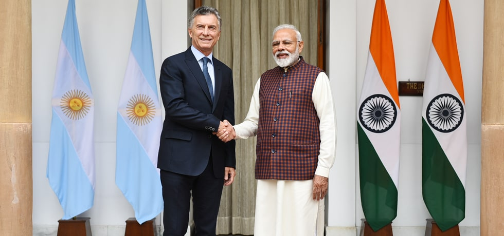 Prime Minister meets Mauricio Macri, President of the Argentine Republic in Hyderabad House, New Delhi