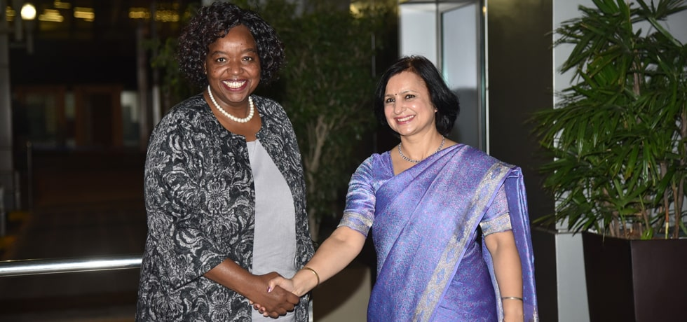 Monica K Juma, Cabinet Secretary For Foreign Affairs and International Trade of Kenya arrives in New Delhi on 3-day official visit