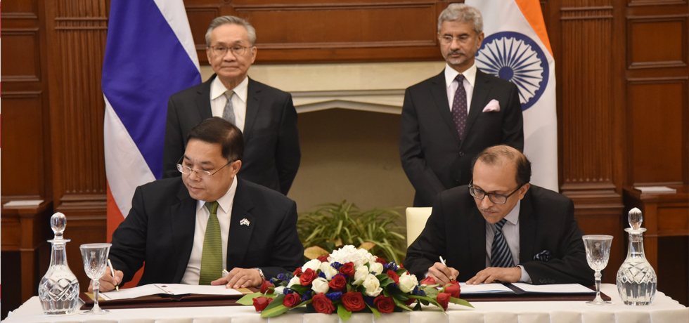 External Affairs Minister and Don Pramudwinai , Minister of Foreign Affairs of Thailand witness Signing of Agreements at Hyderabad House in New Delhi