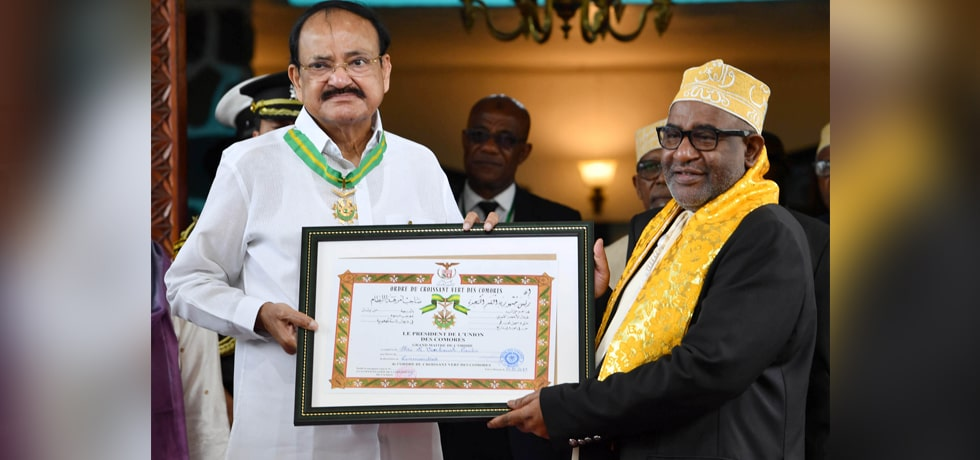Vice President is conferred 'The Order of the Green Crescent', the highest Civilian Honour of Comoros, by Azali Assoumani, President of Comoros in Moroni