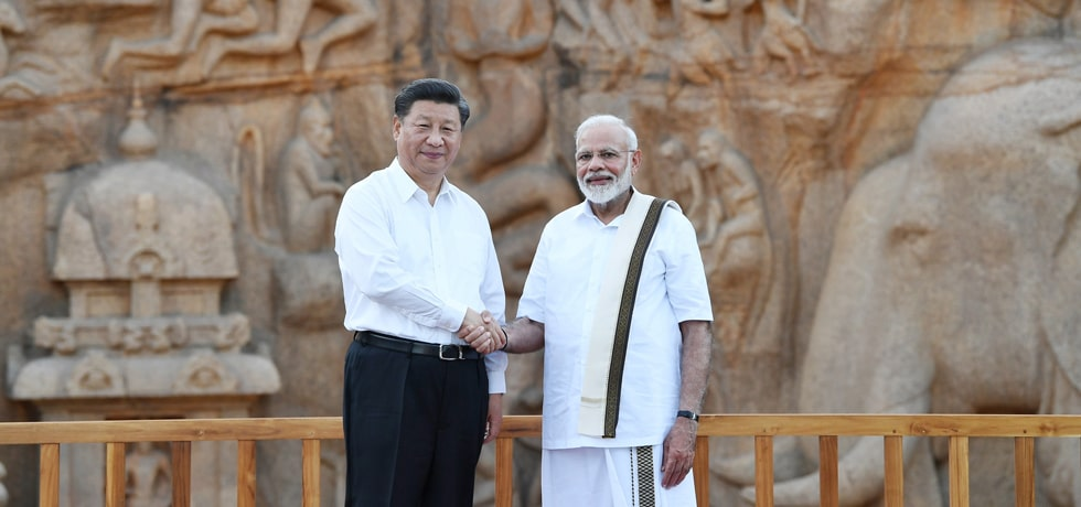 Prime Minister meets Xi Jinping, President of China at 'Arjuna's Penance' in Mamallapuram