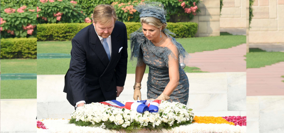 King Willem-Alexander and Queen Maxima of the Netherlands pay homage at the Samadhi of Mahatma Gandhi at Rajghat in Delhi