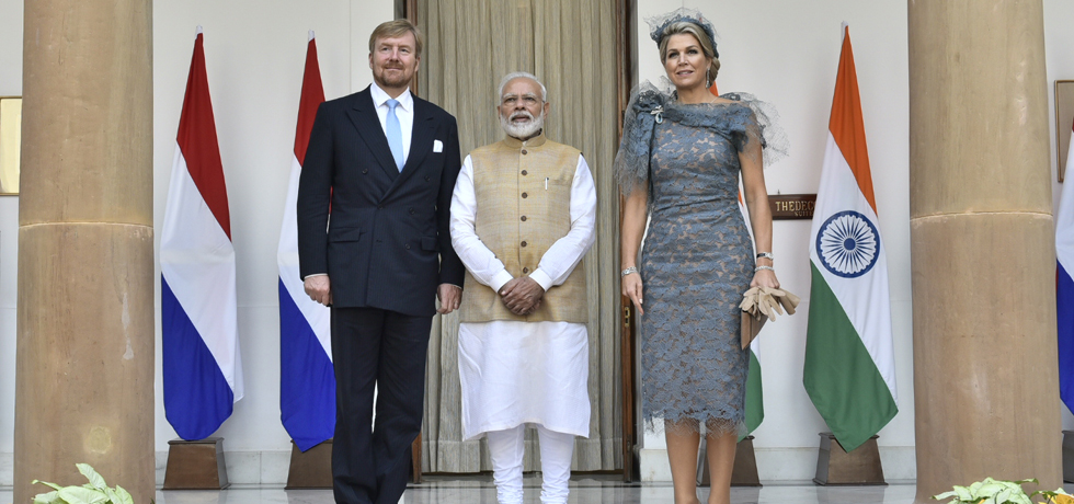 Prime Minister meets King Willem-Alexander and Queen Maxima of the Netherlands at Hyderabad House in New Delhi