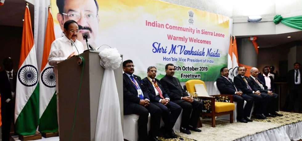 Vice President delivers his address at the Indian Community reception in Freetown, Sierra Leone