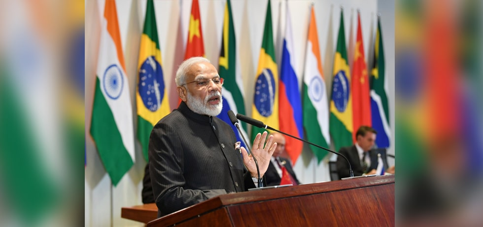 Prime Minister delivers his address at Leaders Dialogue in 11th BRICS summit in Brasilia