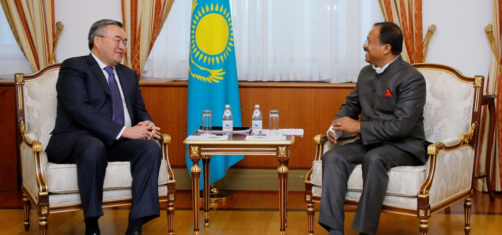 Minister of State for External Affairs meets Mukhtar Tileuberdi, Foreign Minister of Kazakhstan in Nur Sultan, Kazakhstan