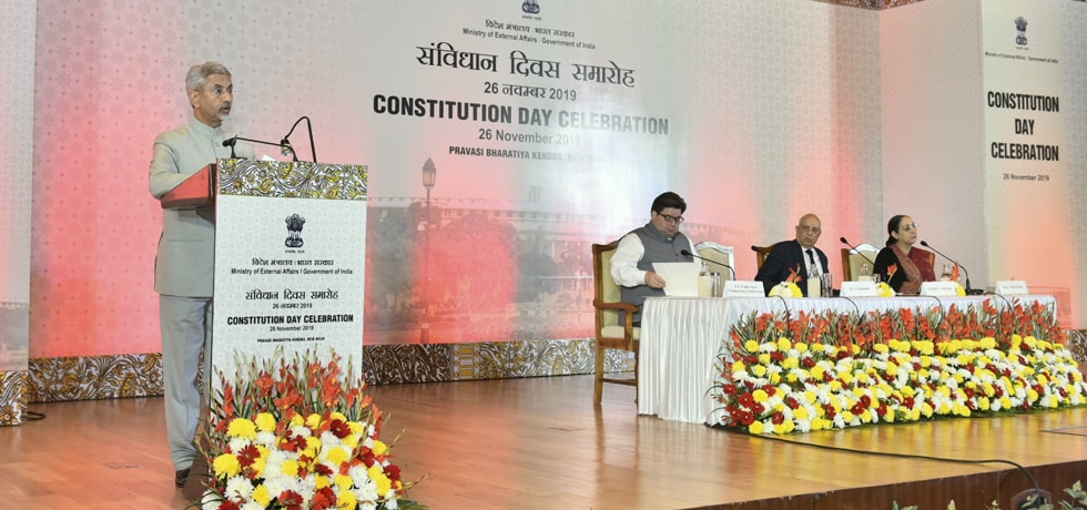 External Affairs Minister delivers his welcome address on the occasion of Constitution Day Celebration 2019 at PBK, New Delhi
