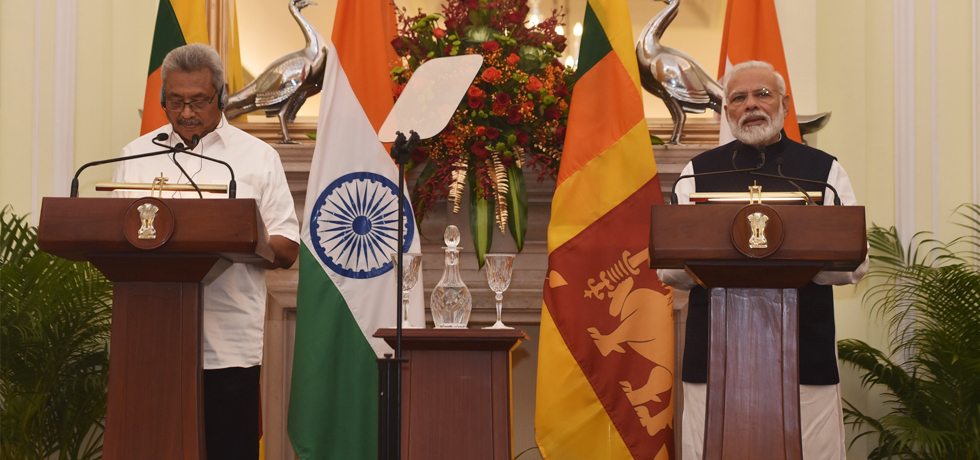 Prime Minister delivers his Press Statement during the State Visit of President of Sri Lanka to India
