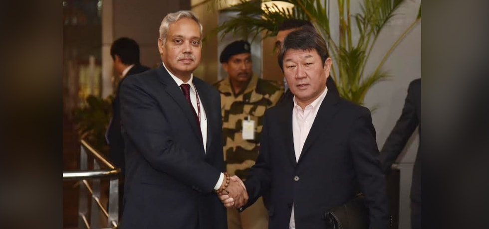 Toshimitsu Motegi, Foreign Minister of Japan arrives in New Delhi
