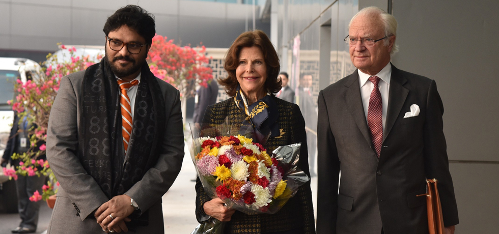 King Carl XVI Gustaf and Queen Silvia of Sweden arrive in New Delhi