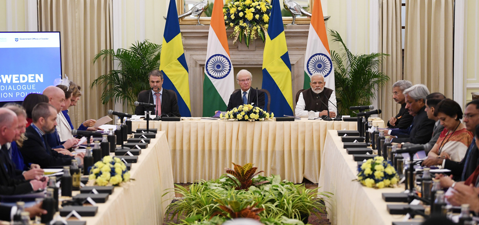 Prime Minister and Carl XVI Gustaf, King of Sweden hold India-Sweden High Level Dialogue on Innovation Policy at Hyderabad House, New Delhi