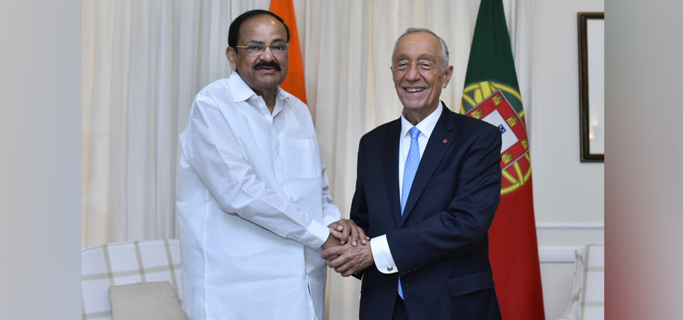 Vice President meets Marcelo Rebelo De Sousa, President of Portugal in New Delhi[ph]Photo Courtesy: Chandan Kumar Shah[/ph]