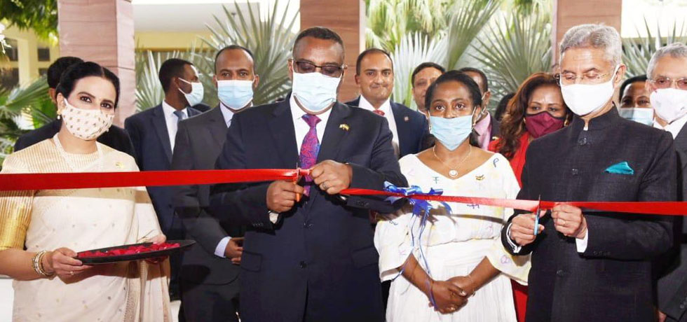 EAM and Demeke Mekonnen Hassen, Ethiopian DPM and FM jointly inaugurate the new Chancery complex of Ethiopian Embassy in New Delhi