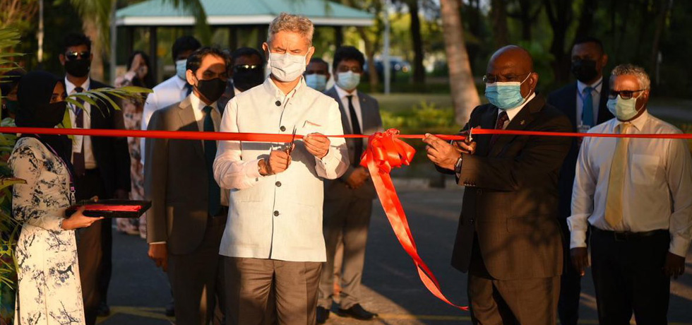 External Affairs Minister and Foreign Minister of Maldives jointly inaugurate the Hulhumalé Central Park and the Westside Arrival Jetty in Maldives