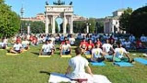 International Day of Yoga-2017 celebrated at Parco Sempione (Simplon Park),Milan