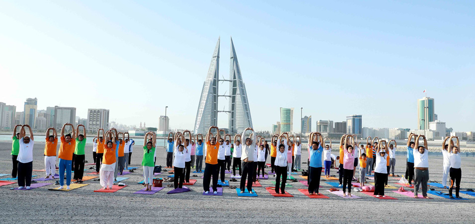 A curtain raiser to the International Day of Yoga -2017 held at Bahrain Bay Chorniche, Manama