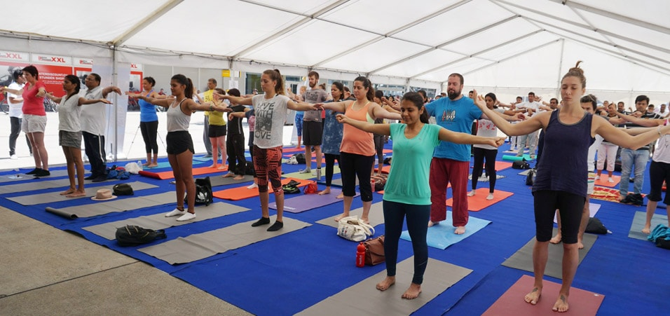 Celebrations of the 3rd International Day of Yoga takes place in Berne