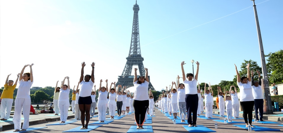 International Day of Yoga-2017 celebrated at Eiffel Tower, Paris