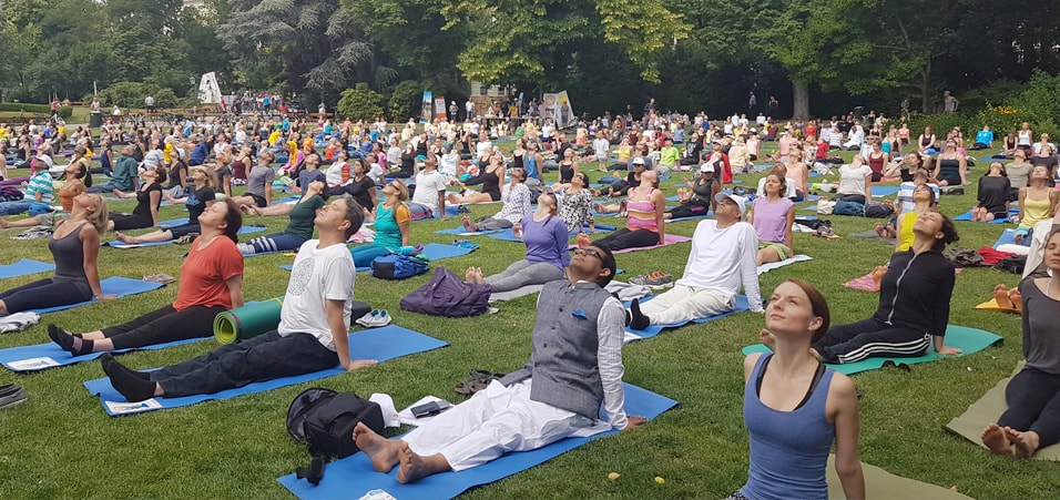 Celebrations of 3rd International Day of Yoga at Stadt Park, Vienna, Austria