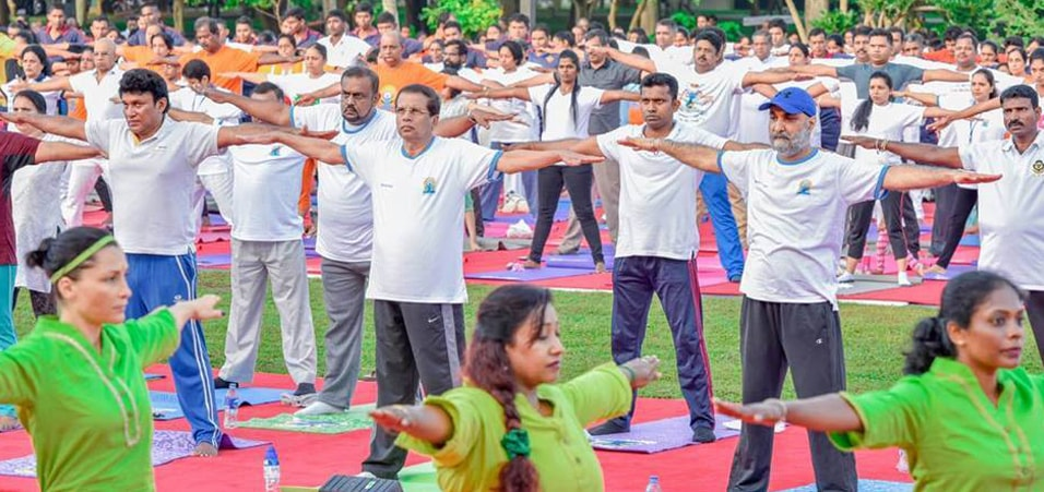 Maithripala Sirisena, President of Sri Lanka participated in the celebration of 3rd International Day of Yoga, 2017 at Independence Square in Colombo