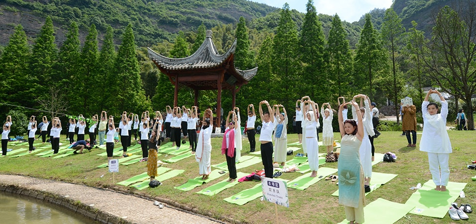 Celebrations of the 3rd International Day of Yoga take place in Wuyi, Zhejiang