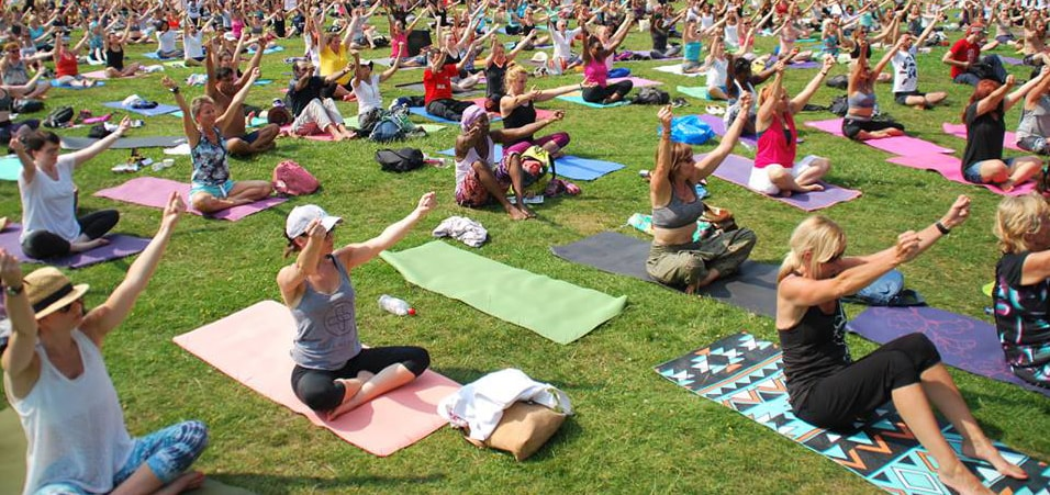 Celebrations of the 3rd International Day of Yoga take place in London