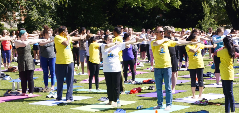 Celebrations of the 3rd International Day of Yoga take place in Dartmouth Square Park, Dublin
