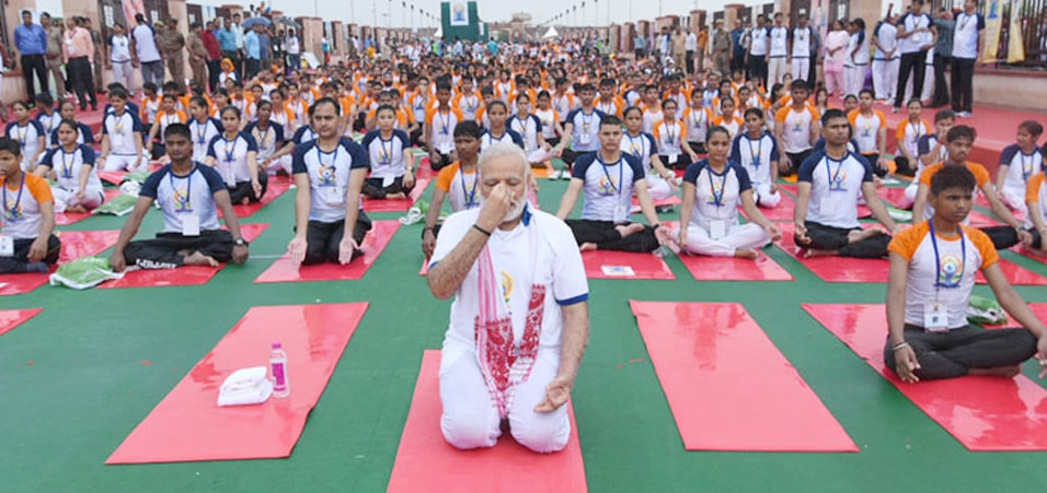Prime Minister participates in the mass yoga demonstration at the Ramabai Ambedkar Maidan, Lucknow on the occasion of the 3rd International Day of Yoga