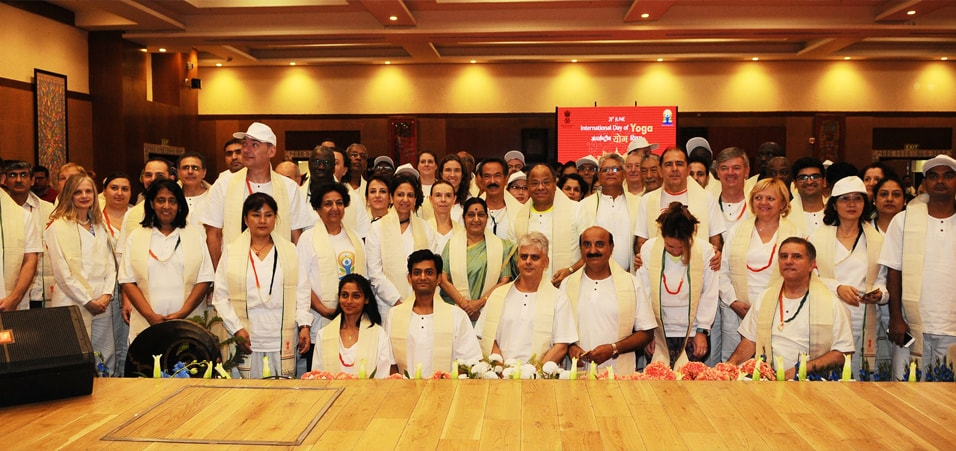 External Affairs Minister with Foreign diplomats after the special Yoga event at Pravasi Bharatiya Kendra, New Delhi