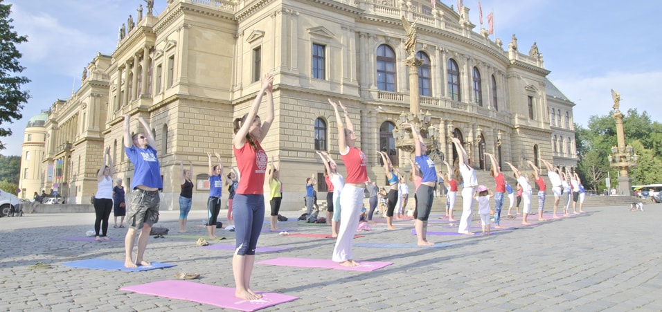Yoga exercises performed by Yoga Federation of Europe in association with the Indian Embassy in front of Rudolfinum Concert Hall, Prague