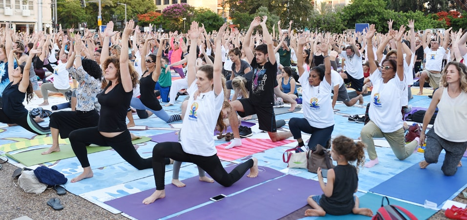 Yoga enthusiasts participating in International Day of Yoga 2017 at Rabin Square, Tel Aviv