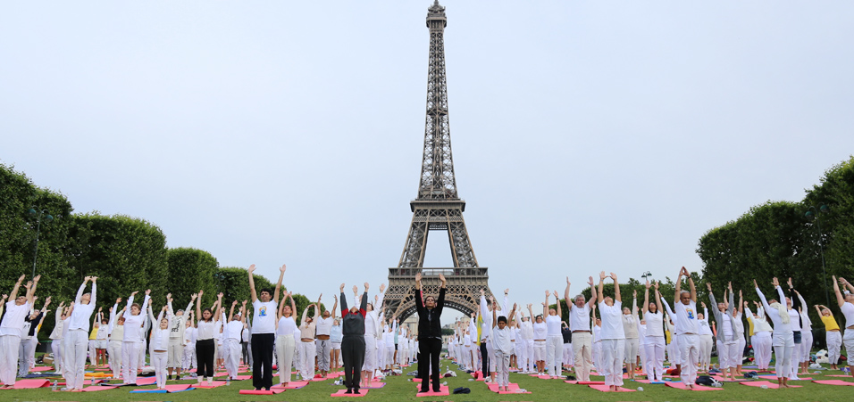4th International Day of Yoga celebrations at Eiffel Tower