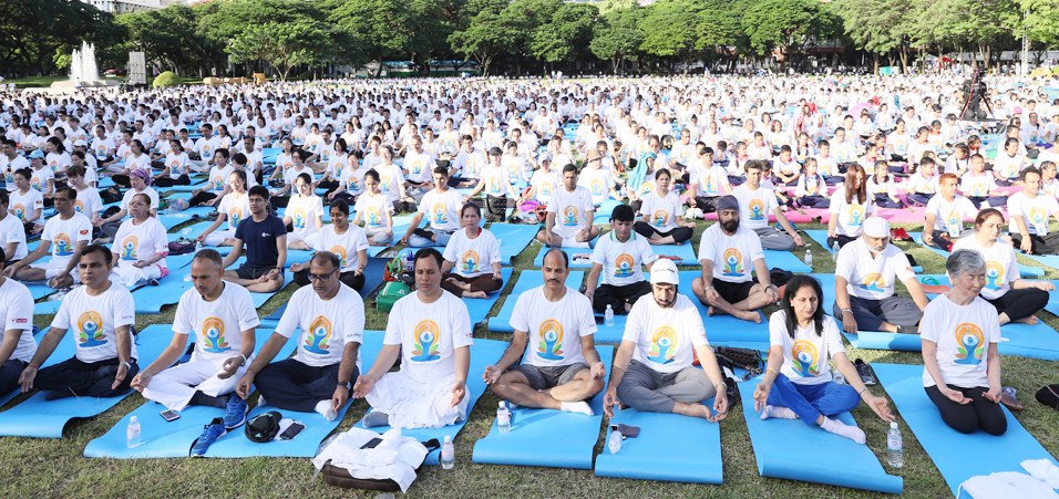 People participating in 4th International Day of Yoga celebration in Bangkok, Thailand
