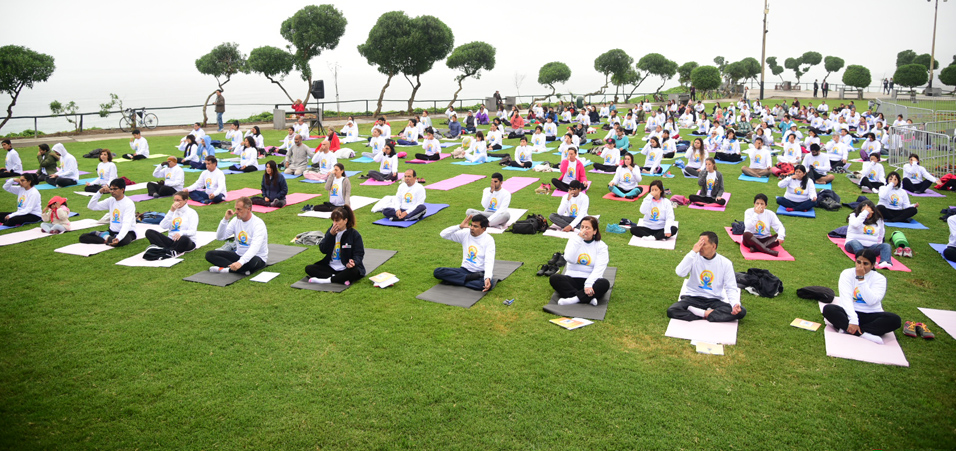 4th International Day of Yoga celebrations at Maria Reiche Park, Lima
