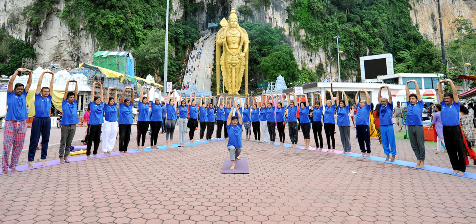 International Yoga Day celebrations organised by High Commission of India at Kuala Lumpur, Malaysia at the iconic Batu Caves