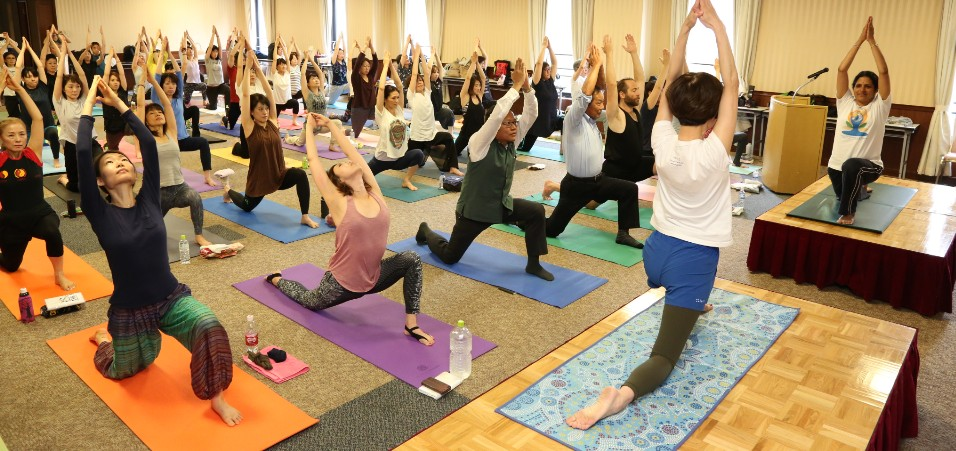 108 times Surya Namaskar (Sun salutations) performed Yoga enthusiasts on the occasion of International Day of Yoga in Osaka