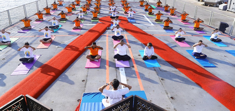 Yoga Event by Embassy of India, Bahrain on INS Kochi celebrating 4th International Day of Yoga